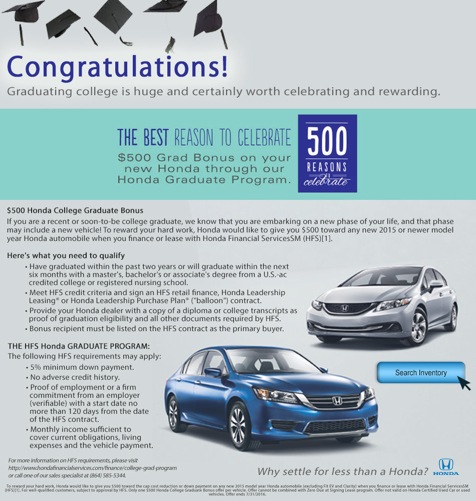 Bonus Cash on Your New Honda for College Grads | Visit Vic ...