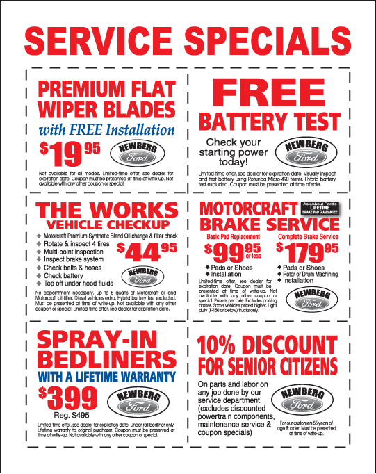 Newberg Ford Service Special Offers