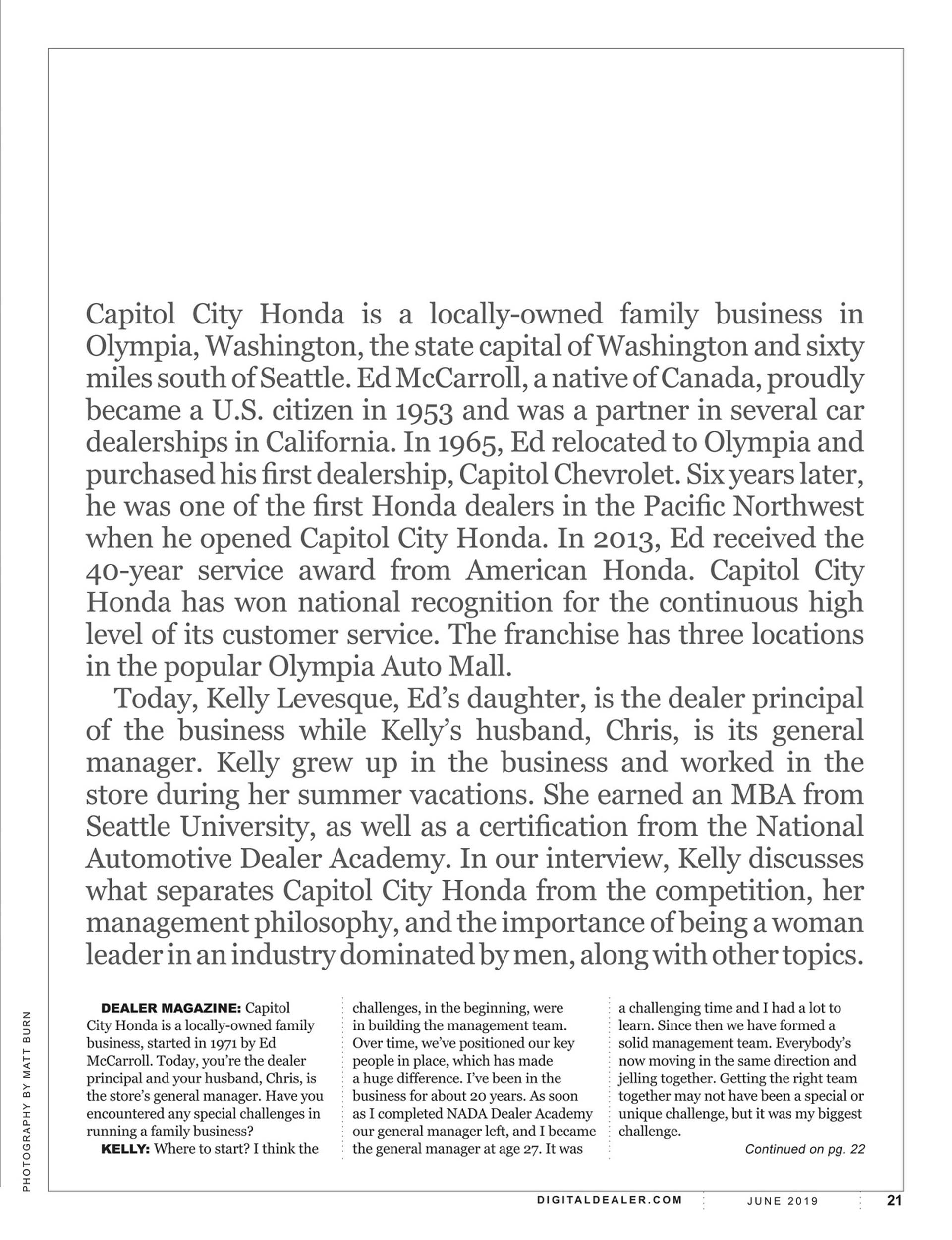 Capitol City Honda in Dealer Magazine 3