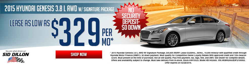 Special offers on the new 2015 Hyundai Genesis at Sid Dillon of Lincoln