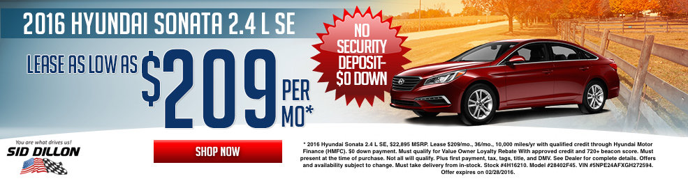Special offers on the new 2016 Hyundai Sonata at Sid Dillon of Lincoln