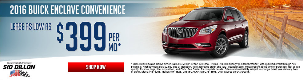 Special offers on the new 2016 Buick Enclave at Sid Dillon of Crete