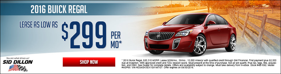 Special offers on the new 2016 Buick Regal at Sid Dillon of Wahoo