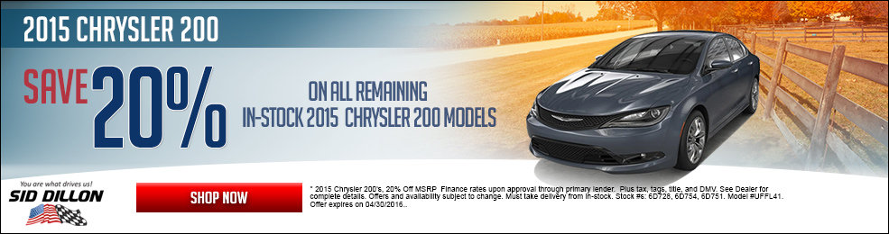 Special offers on the new 2015 Chrysler 200 at Sid Dillon Crete