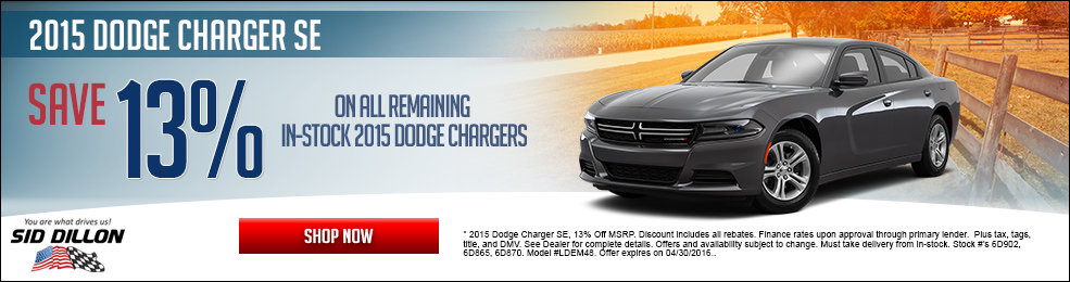 Special offers on the new 2015 Dodge Charger at Sid Dillon Crete