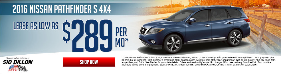 Special offers on the new 2016 Nissan Pathfinder at Sid Dillon of Lincoln