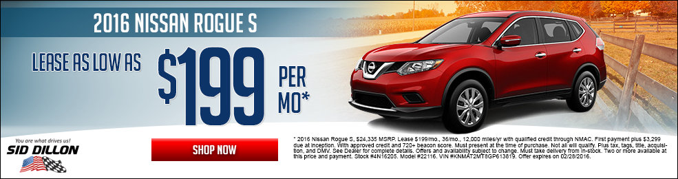 Special offers on the new 2016 Nissan Rogue at Sid Dillon of Lincoln