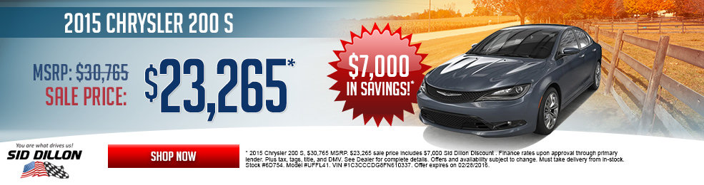 Special offers on the new 2015 Chrysler 200 at Sid Dillon of Crete