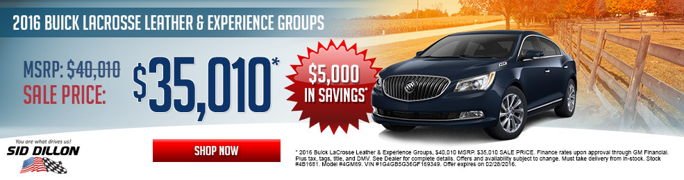 Special offers on the new 2016 Buick Lacrosse at Sid Dillon of Lincoln