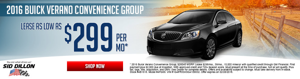 Special offers on the new 2016 Buick Verano at Sid Dillon of Lincoln