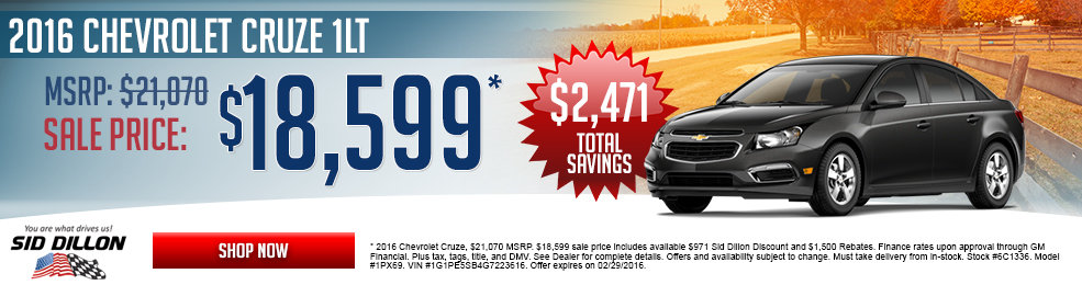 Special offers on the new 2016 Chevrolet Cruze at Sid Dillon of Blair