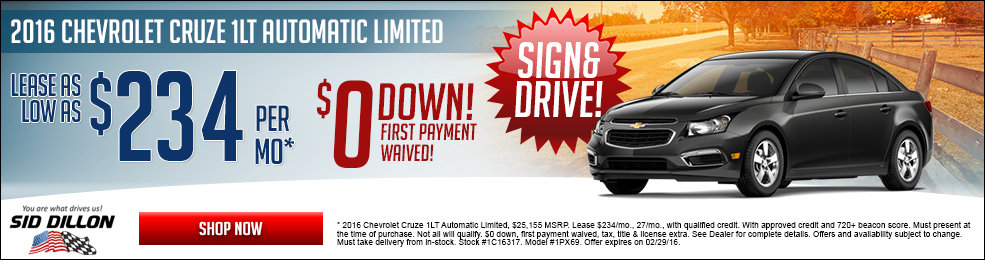 Special offers on the new 2016 Chevrolet Cruze Limited at Sid Dillon of Blair