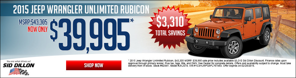 Special offers on the new 2015 Jeep Wrangler Unlimited at Sid Dillon of Crete