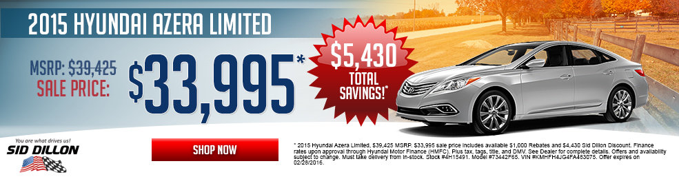 Special offers on the new 2015 Hyundai Azera Limited at Sid Dillon of Lincoln