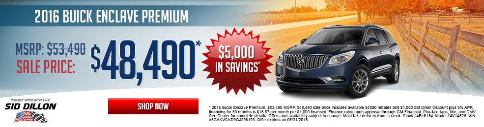 Special offers on the new 2016 Buick Enclave at Sid Dillon Wahoo