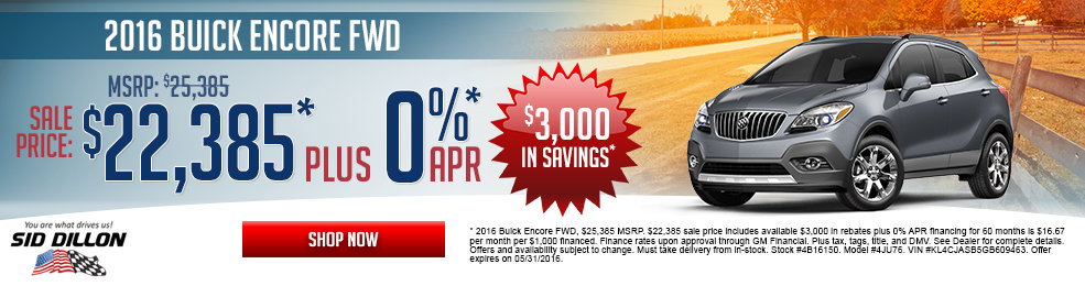 Special offers on the new 2016 Buick Encore at Sid Dillon Wahoo