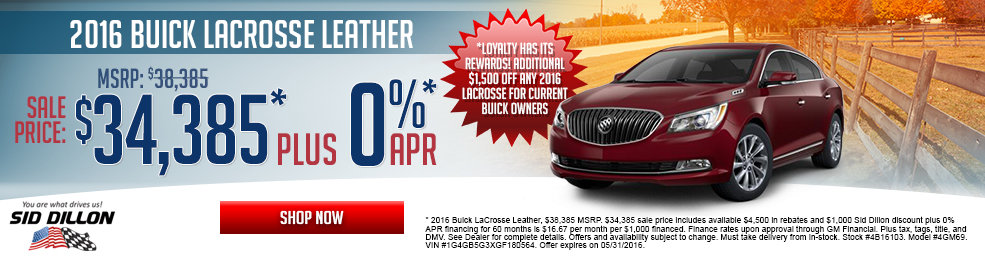 Special offers on the new 2016 Buick Lacrosse at Sid Dillon Wahoo