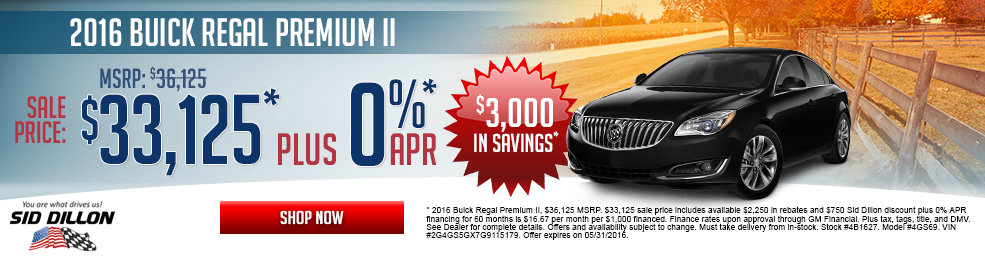 Special offers on the new 2016 Buick Regal at Sid Dillon Wahoo