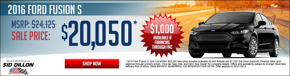 Special offers on the new 2016 Ford Fusion at Sid Dillon Crete