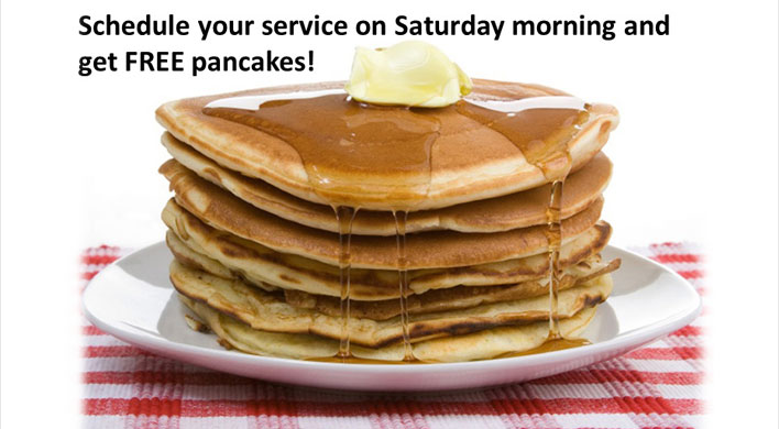 Free pancakes with saturday service