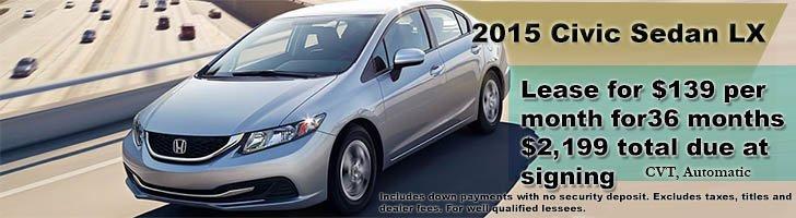 2015 Honda Civic SedanLX lease offer