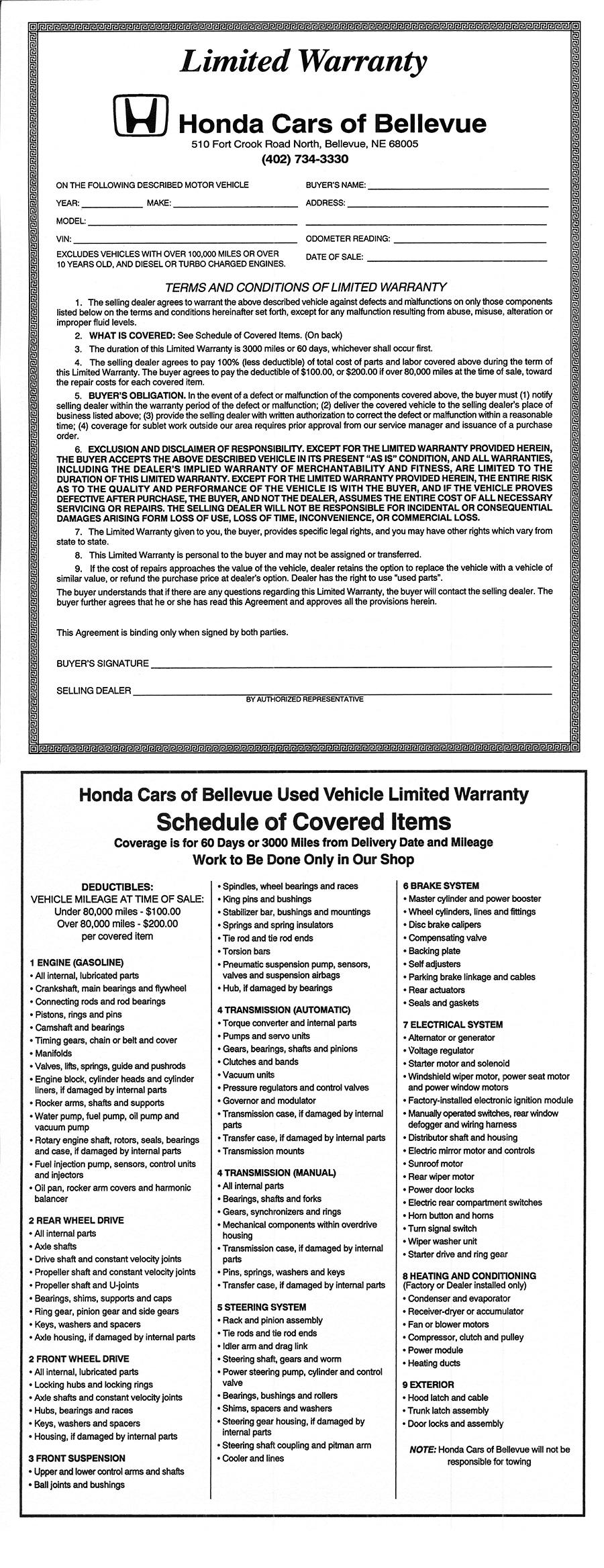 60 Day Warranty