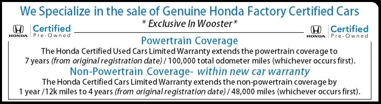 we specialize in certified hondas
