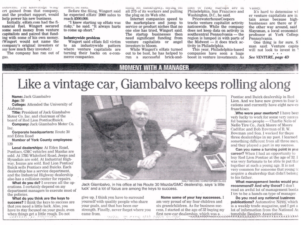 Jack Giambalvo History News Article
