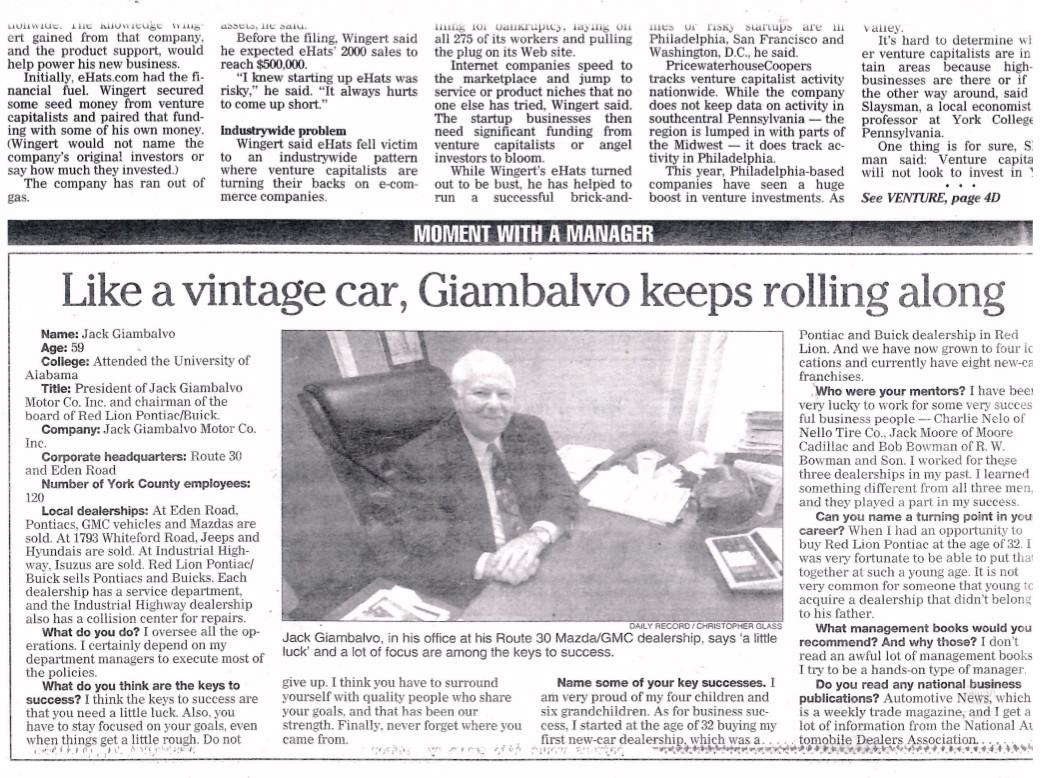 Jack Giambalvo History News Article