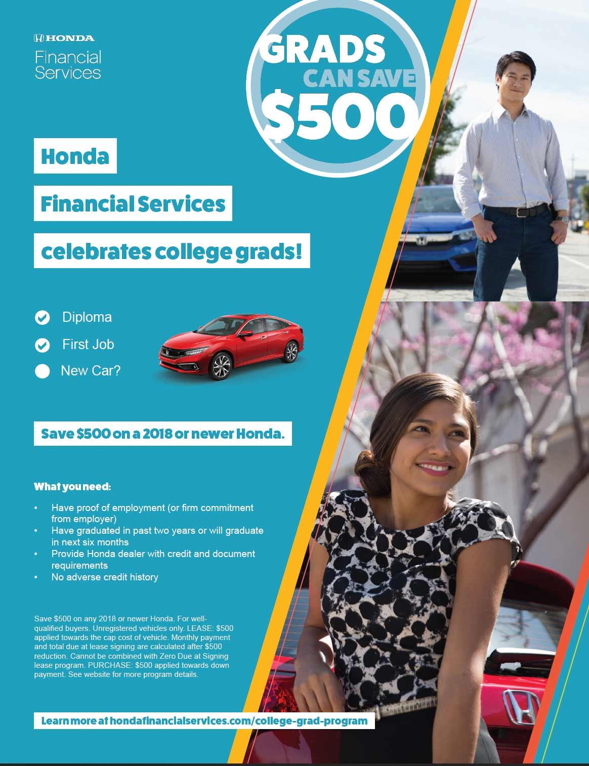 Bonus Cash On Your New Honda For College Grads