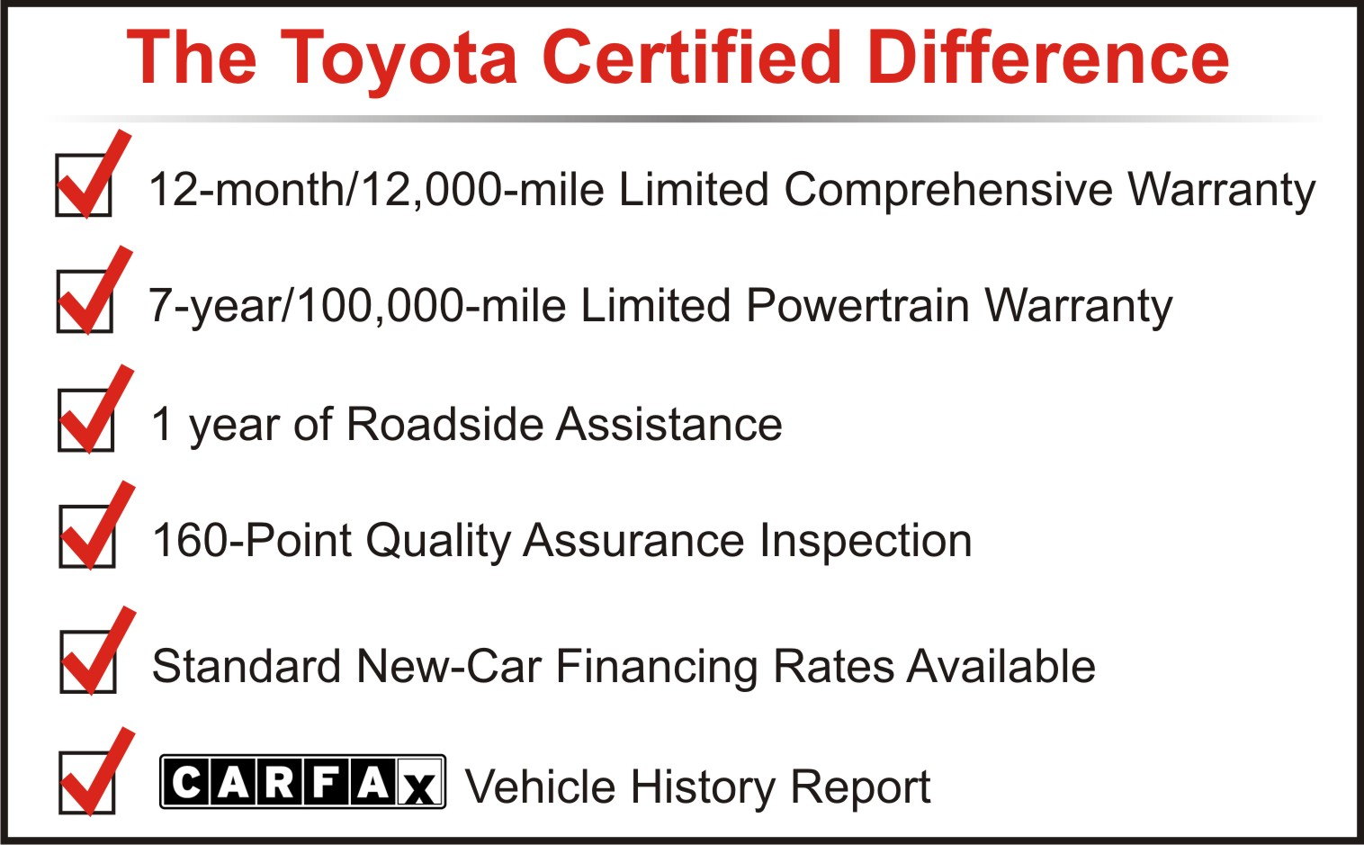 Toyota Certified Pre Owned >> Toyota Certified Pre Owned Vehicle Program
