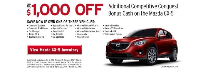 Mazda CX-5 March Payment Offer at Werner Mazda