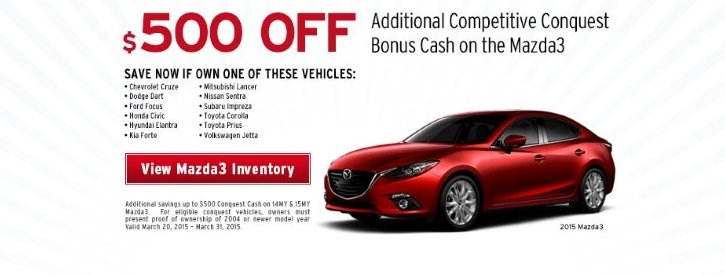 Mazda3 March Payment Offer at Werner Mazda