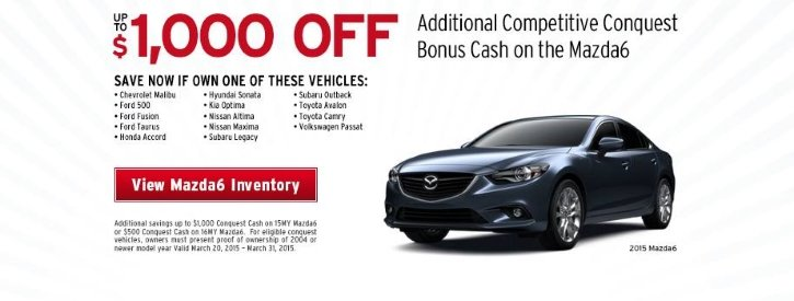 Mazda6 March Payment Offer