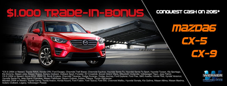 $1000 Conquest Cash Off Select New Mazdas