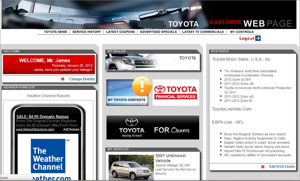 Customer Webpage example through a Toyota Dealership