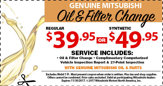 Oil and Filter Change Special at Michaud Mitsubishi