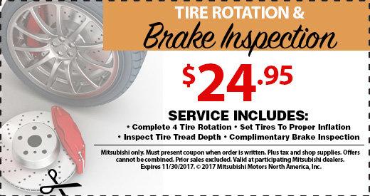 Tire Rotation & Brake Inspection Special at Michaud Mitsubishi
