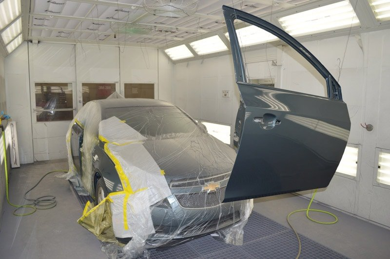 Car door drying after being painted