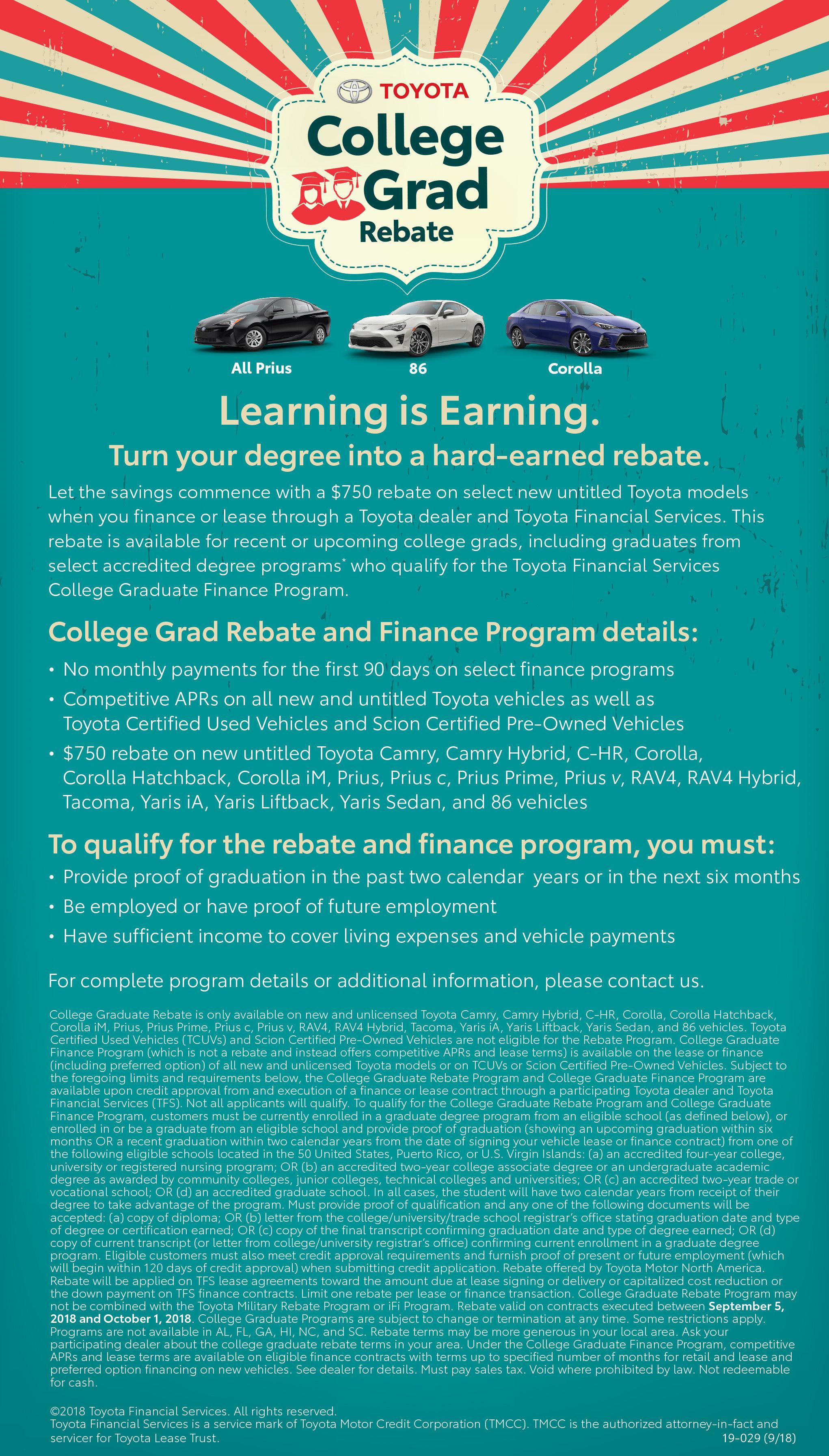 Toyota College Grad Rebate Ourisman Chantilly Toyota