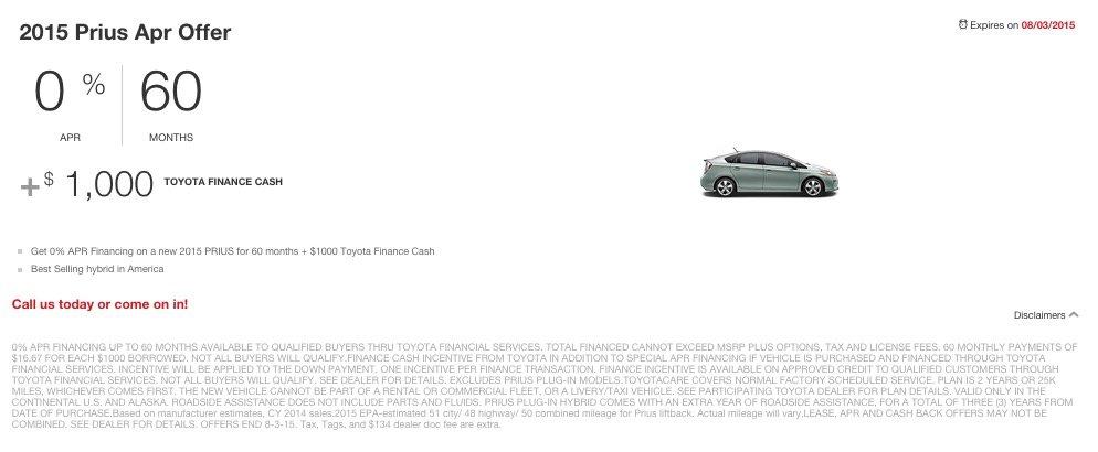 Prius Apr Offer