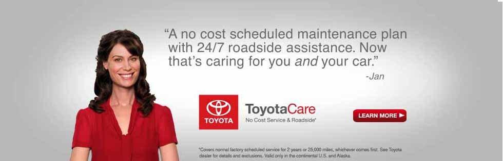 Toyota Care Complete Maintenance Program Page on Toyota.com